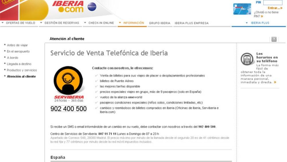 Página web de Serviberia