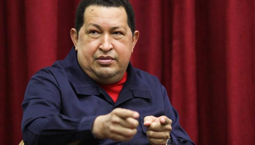 Hugo Chávez en un reunión que mantuvo en Caracas.