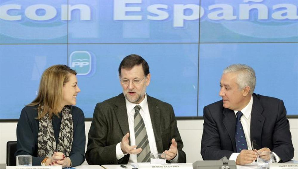 El presidente del Gobierno, Mariano Rajoy en la reunión con líderes regionales