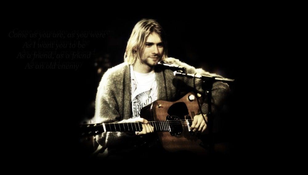 Kurt Cobain con su guitarra