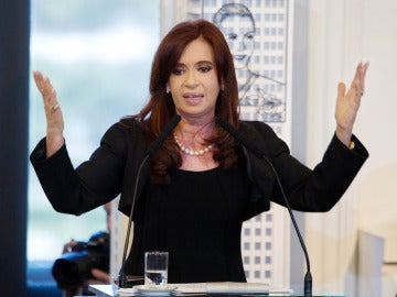 Cristina Fernández de Kirchner durante el anuncio de expropiación