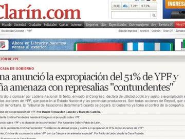 Web de Clarín sobre la expropiación