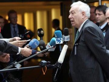 García- Margallo en Bruselas, a su llegada a la reunión de ministros de Exteriores y de Defensa de la OTAN.