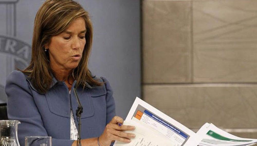 Ana Mato, en su rueda de prensa posterior al Consejo de Ministros