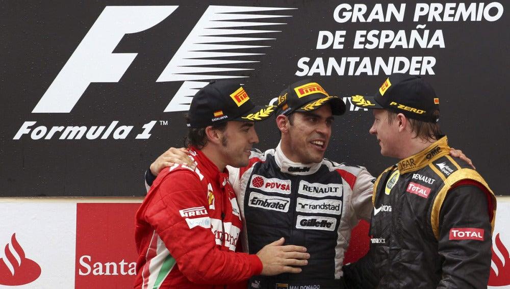 Alonso, Maldonado y Kimi en el podio
