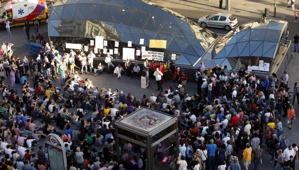 La Puerta del Sol de Madrid, escenario de las movilizaciones conmemorativas del primera aniversario del 15M