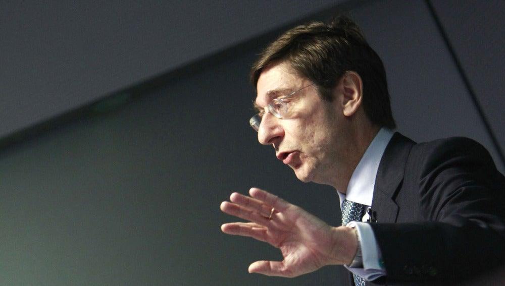 Goirigolzarri, presidente de Bankia, durante la rueda de prensa