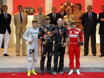 Rosberg, Webber, Newey y Alonso