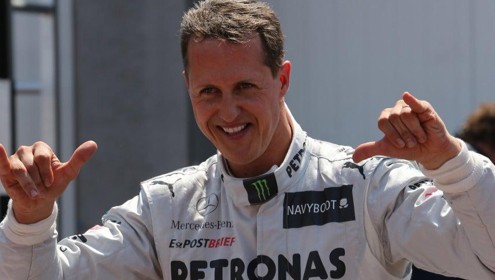 Schumacher exhultante tras la clasificación