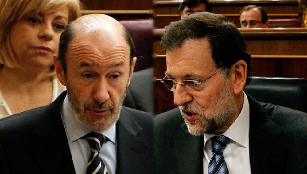 Rubalcaba y Rajoy en el Congreso