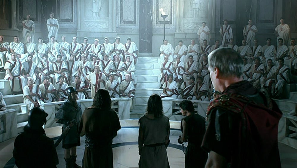 Galba y los rebeldes ante el senado de Roma