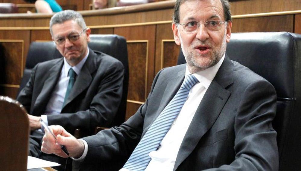 Rajoy en el Congreso junto a Gallardón