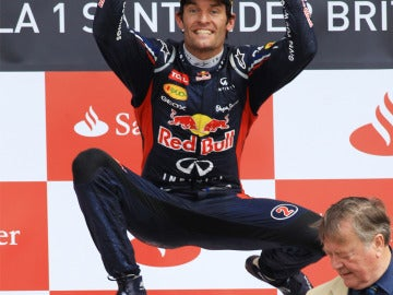 Mark Webber celebra su victoria
