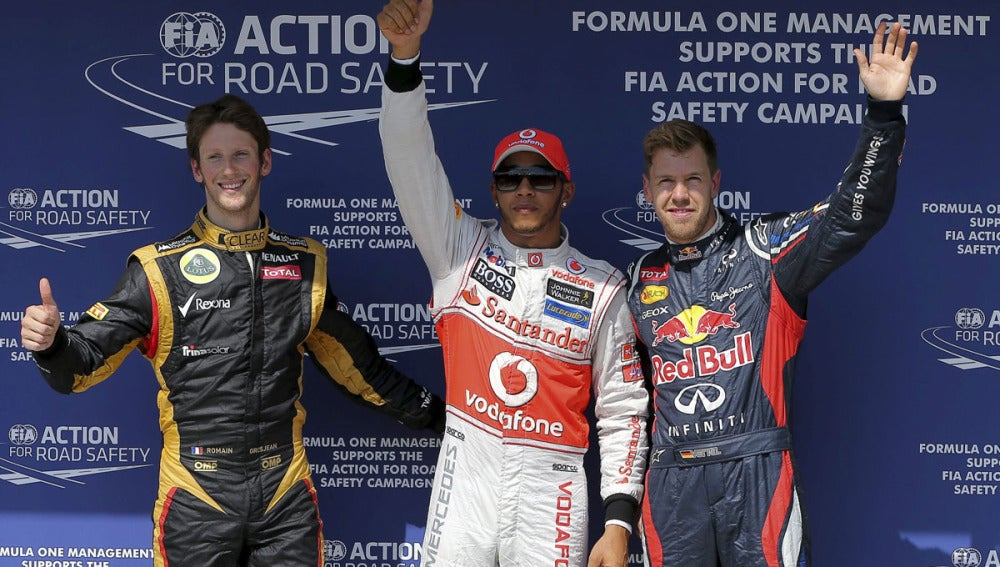 Hamilton, con Grosjean y Vettel