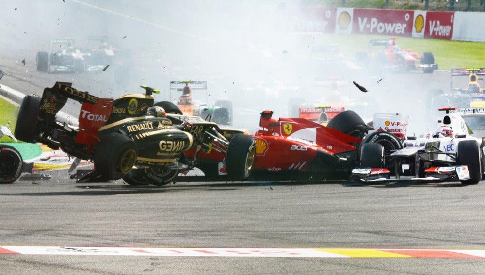 Grosjean, en el accidente en Spa