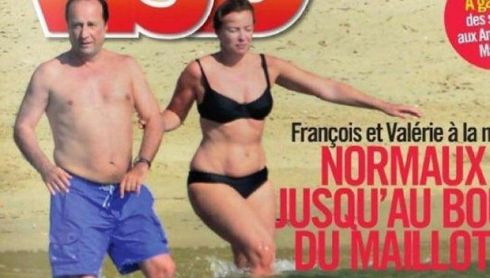 Valérie Trierweiler, en bañador junto al presidente francés