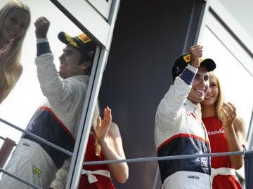 Sergio Pérez, en el podio de Monza