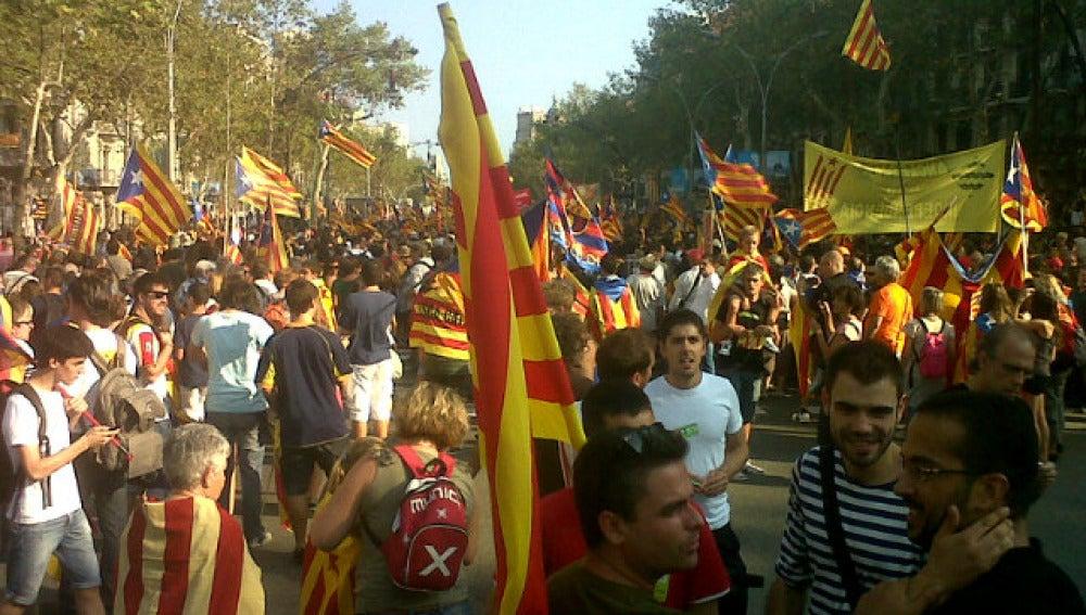 Manifestación independentista en Cataluña