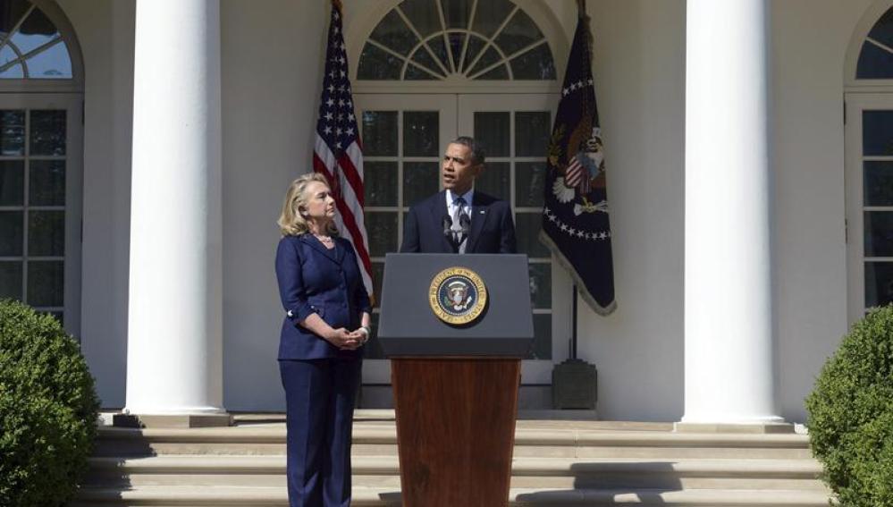 El presidente Obama y la secretaria de Estado, Hillary Clinton