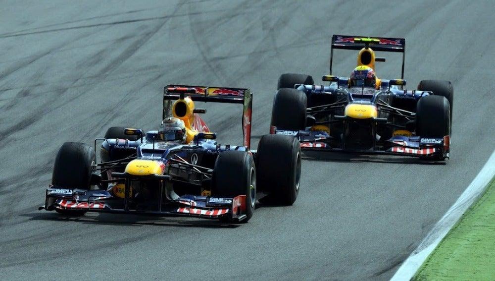 Los Red Bull de Vettel y Webber en Monza