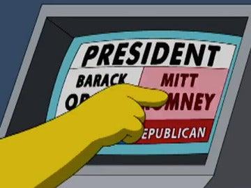Homer Simpson vota a Mitt Romney en las elecciones