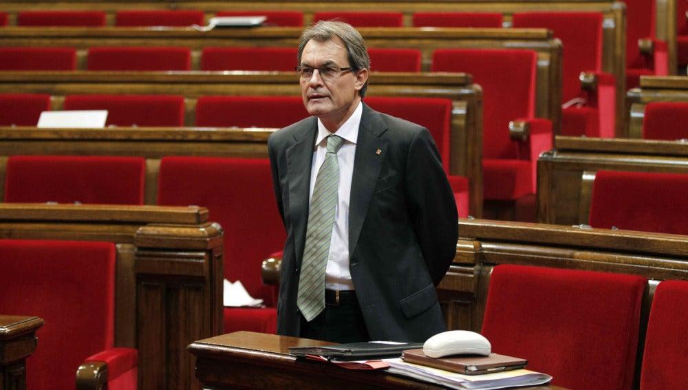 Artur Mas, en el hemiciclo catalán