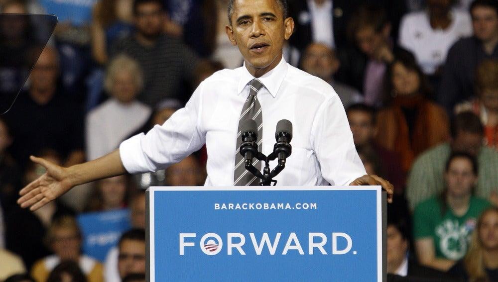 Barack Obama en un mítin en Kent, Ohio