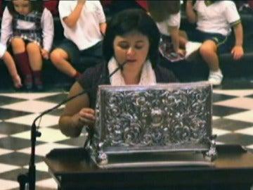 Ruth Ortiz durante la misa en homenaje a sus hijos