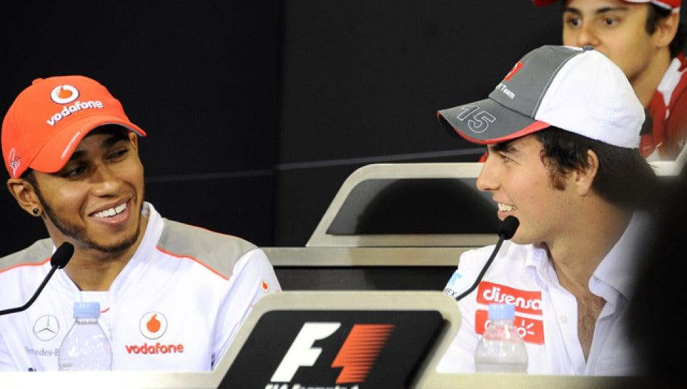Lewis Hamilton y Sergio Pérez