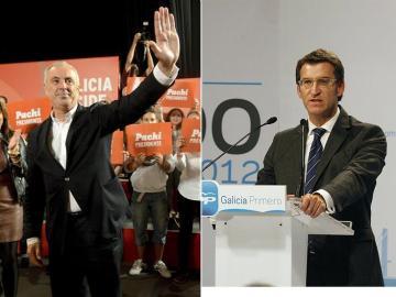 Pachi Vázquez, candidato del PSdeG, y Alberto Núñez Feijóo, por el PP