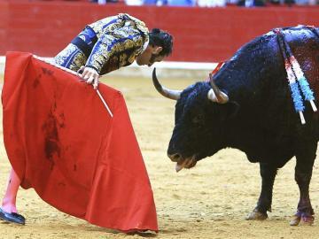 Juan Jose Padilla reta a su primer toro en la corrida de Feria del Pilar de Zaragoza