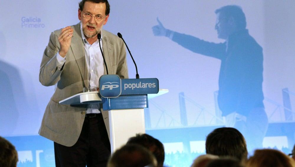 Mariano Rajoy, en As Noigas (Lugo)