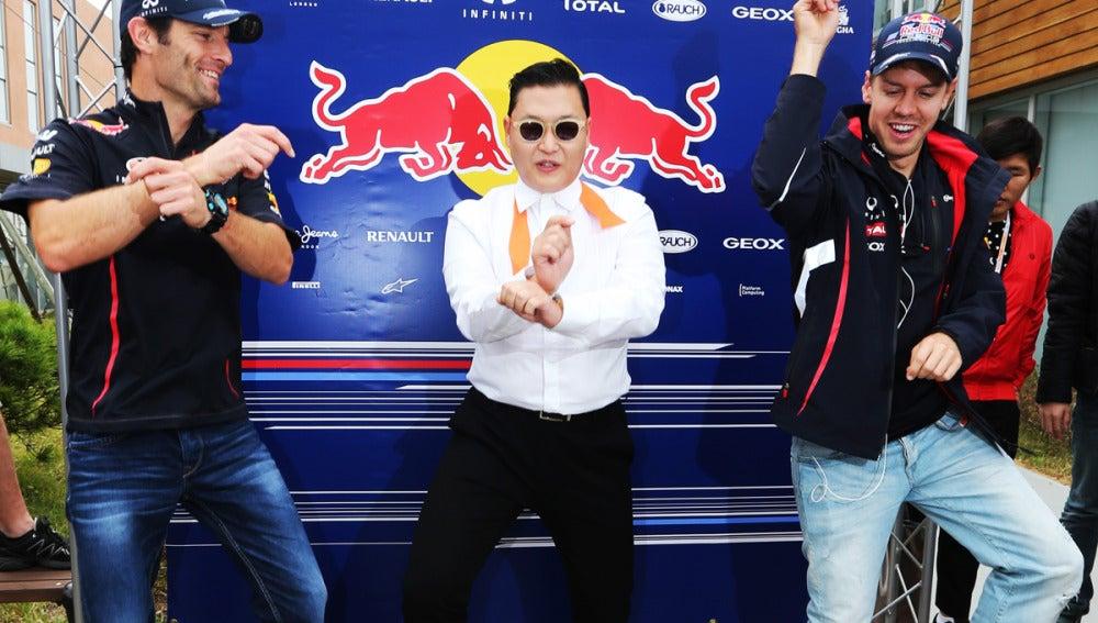 Webber y Vettel bailan con PSY