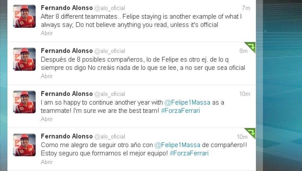 Mensajes de Fernando Alonso en su 'Twitter' tras la renovación de Felipe Massa por Ferrari