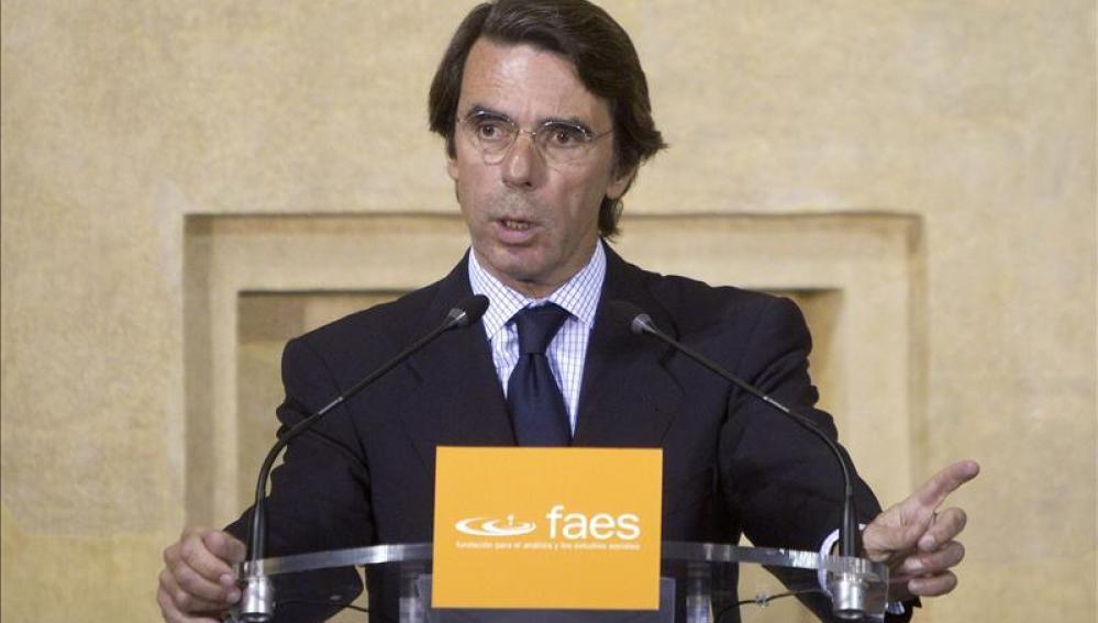 José María Aznar, en un acto de las FAES