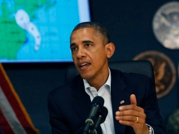 Obama en una comparecencia de prensa sobre el huracán 'Sandy'