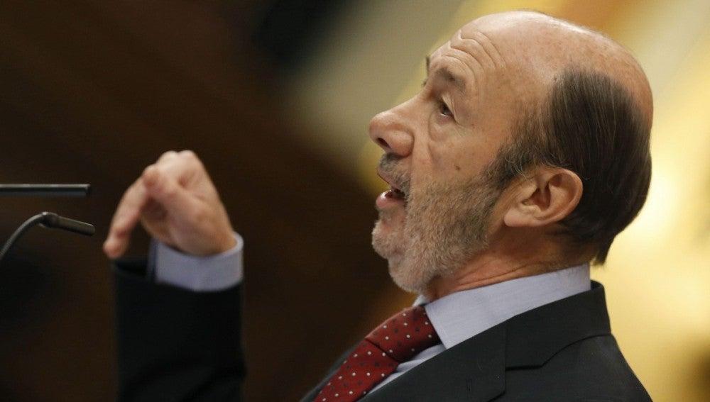 El líder del PSOE, Alfredo Pérez Rubalcaba, durante su intervención