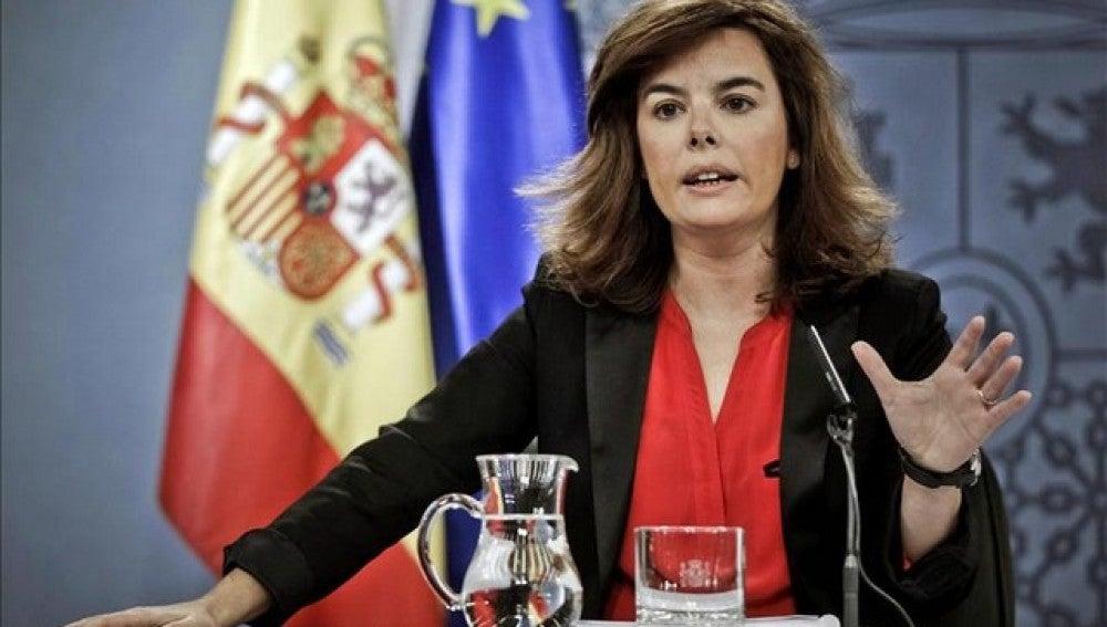 Soraya Sáenz de Santamaría, en el Consejo de Ministros del 2 de noviembre