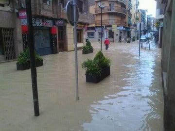 Una calle inundada en Linares