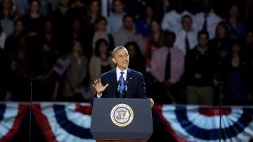 Obama en su discurso de agradecimiento