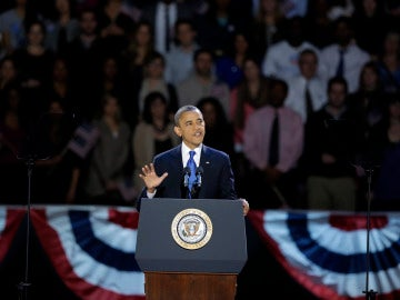 Barack Obama, durante su discurso como vencedor en Chicago
