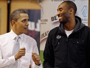 Barack Obama junto a Kove Bryant, la estrellas de Los Angeles Lakers