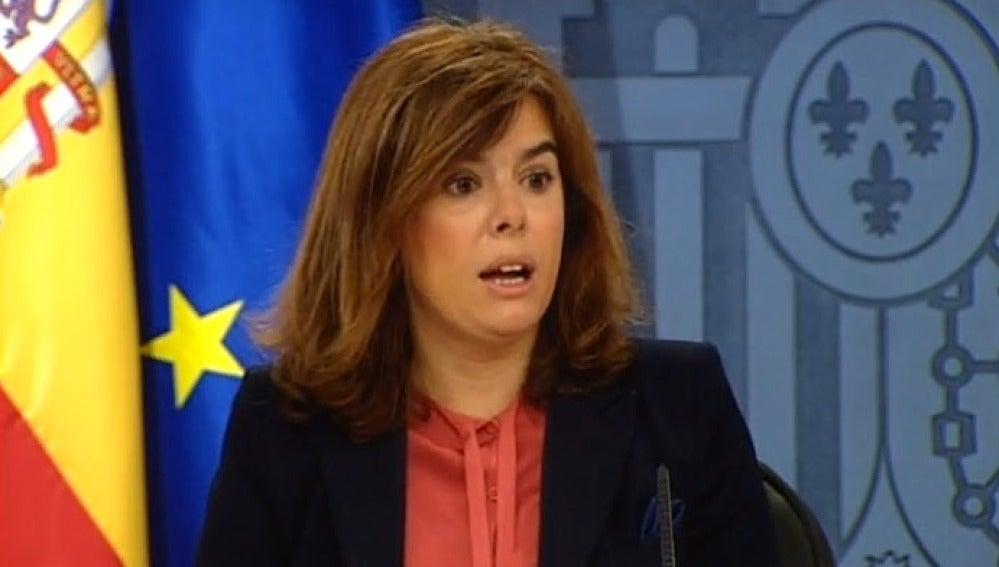 Soraya Saénz de Santamaría en la rueda de prensa del Consejo