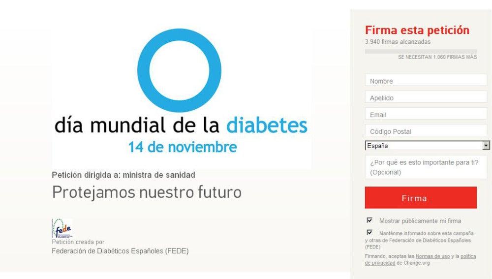 Recogida de firmas para la prevención de la diabetes