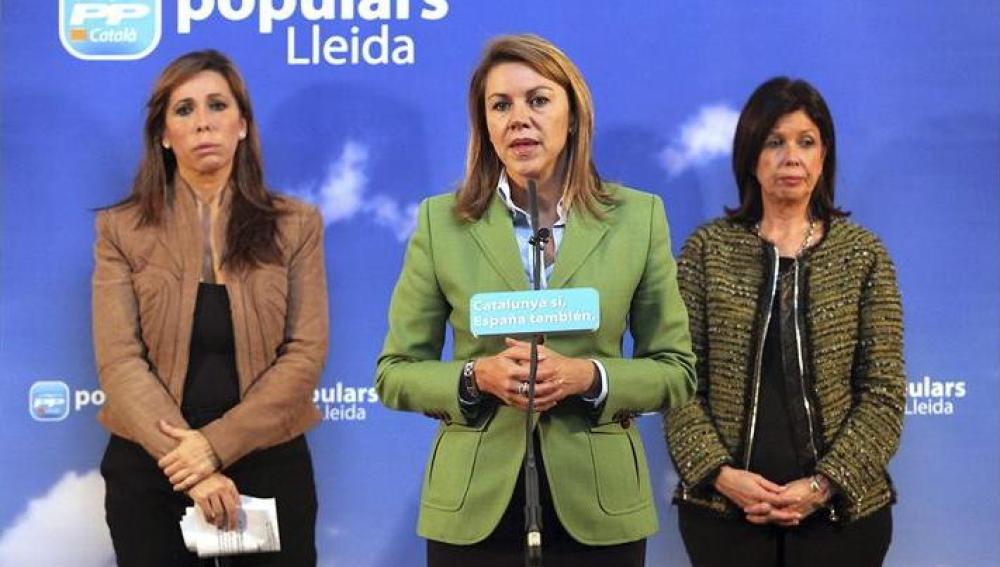 Mª Dolores de Cospedal en un acto de campaña en Cataluña