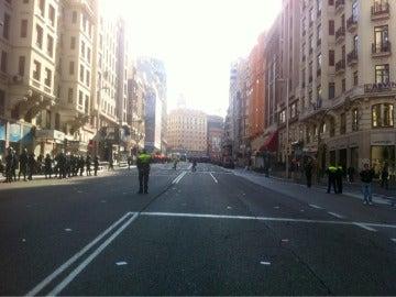 Gran vía cortada en Madrid