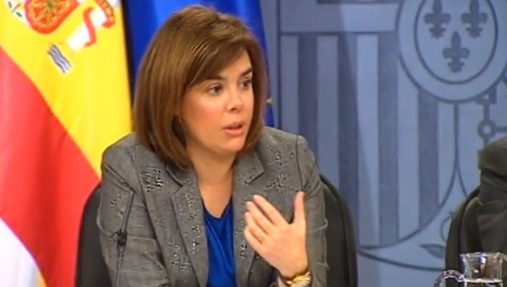 Soraya Saénz de Santamaría en rueda de prensa