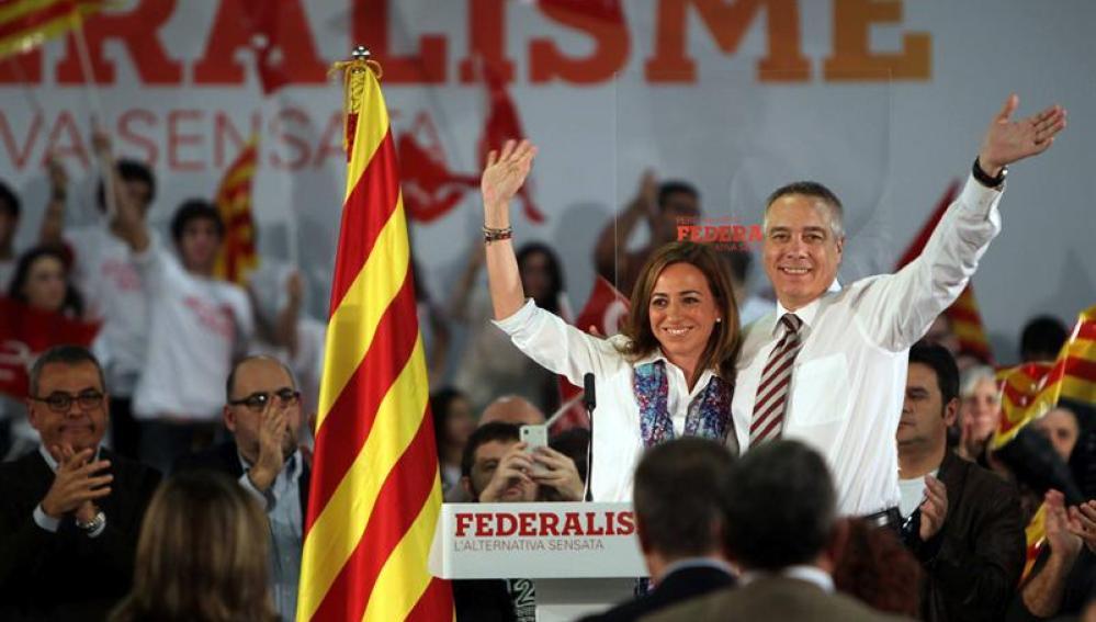 Pere Navarro y Carme Chacón en un acto del PSC (Archivo)