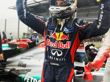 Vettel celebra su tercer título del mundo