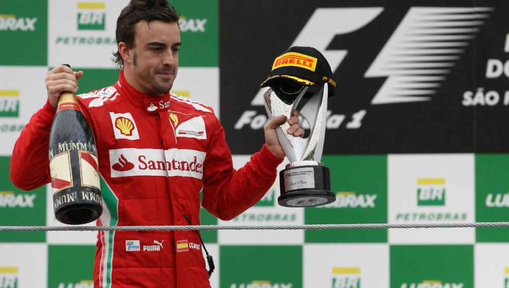Alonso, en el podio